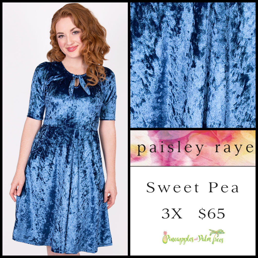 Paisley Raye Sweet Pea dress 3X light blue crushed velvet, shop this Paisley Raye Sweet Pea Dress and more at pineapplesandpalmtrees.net or locally in the Twelve Bridges Community of Lincoln, California.