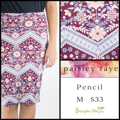 Paisley Raye M Pencil Skirt in a multi colored print, shop this Paisley Raye Pencil Skirt and more at pineapplesandpalmtrees.net or locally in the Twelve Bridges Community of Lincoln, California
