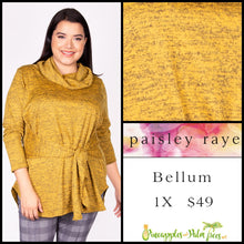 Load image into Gallery viewer, Paisley Raye Bellum Sweater, 1X, heathered Mustard, shop this beautiful Paisley Raye Bellum sweater and more at pineapplesandpalmtrees.net or locally in the Twelve Bridges Community of Lincoln, California.