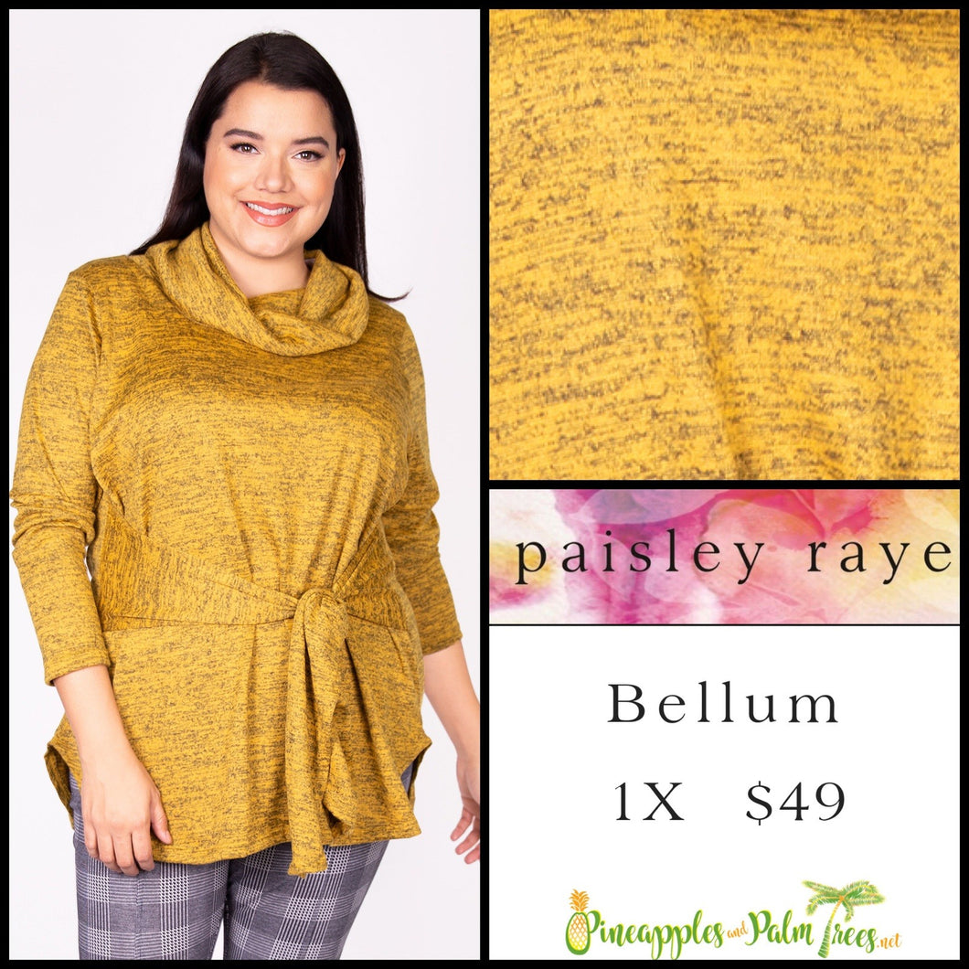 Paisley Raye Bellum Sweater, 1X, heathered Mustard, shop this beautiful Paisley Raye Bellum sweater and more at pineapplesandpalmtrees.net or locally in the Twelve Bridges Community of Lincoln, California.