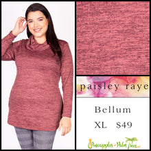 Load image into Gallery viewer, Paisley Raye Bellum Sweater, XL, heathered Rose, shop this beautiful Paisley Raye Bellum sweater and more at pineapplesandpalmtrees.net or locally in the Twelve Bridges Community of Lincoln, California.