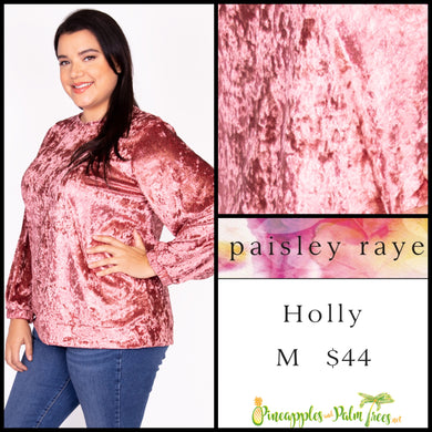 Paisley Raye Holly top in M pink crushed velvet. Shop this beautiful Paisley Raye Holly top and more at pineapplesandpalmtrees.net or locally in the Twelve Bridges Community of Lincoln, California.