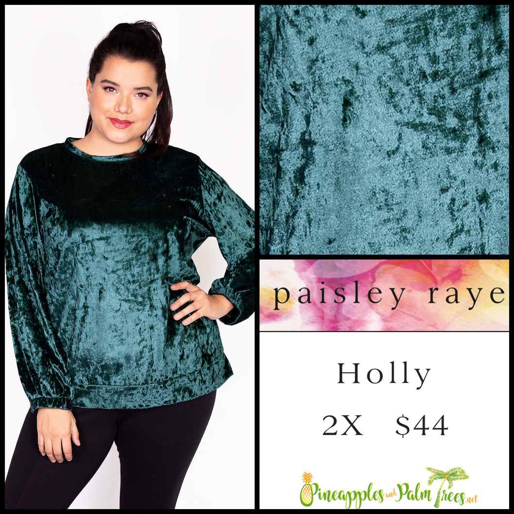 Paisley Raye Holly top in 2X green crushed velvet. Shop this beautiful Paisley Raye Holly top and more at pineapplesandpalmtrees.net or locally in the Twelve Bridges Community of Lincoln, California.