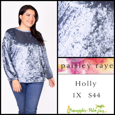 Paisley Raye Holly top in 1X blue crushed velvet. Shop this beautiful Paisley Raye Holly top and more at pineapplesandpalmtrees.net or locally in the Twelve Bridges Community of Lincoln, California.