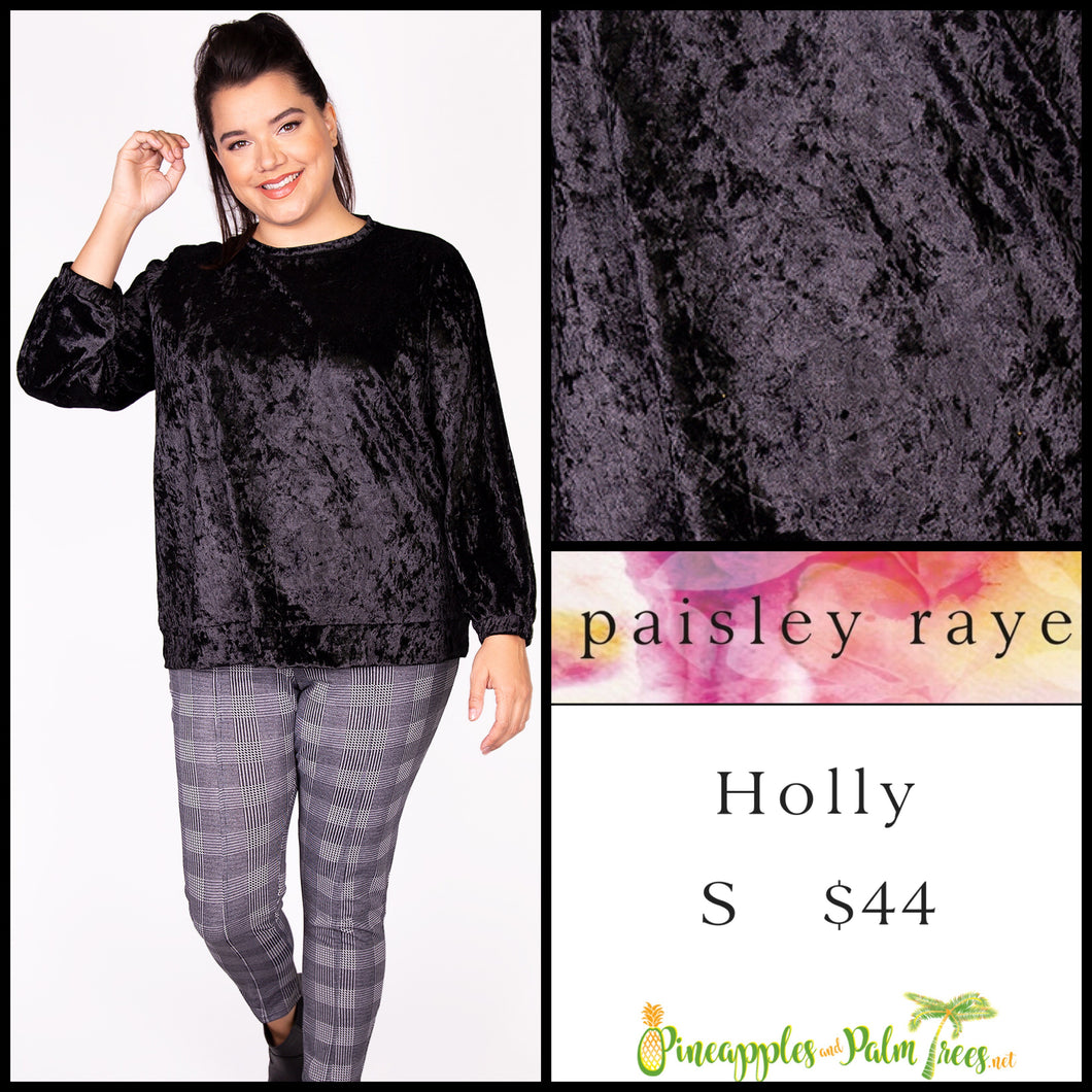 Paisley Raye Holly top in S black crushed velvet. Shop this beautiful Paisley Raye Holly top and more at pineapplesandpalmtrees.net or locally in the Twelve Bridges Community of Lincoln, California.