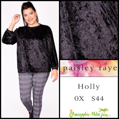 Paisley Raye Holly top in 0X in black crushed velvet. Shop this beautiful Paisley Raye Holly top and more at pineapplesandpalmtrees.net or locally in the Twelve Bridges Community of Lincoln, California.