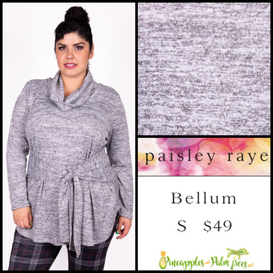 Paisley Raye Bellum Sweater, S, heathered Gray, shop this beautiful Paisley Raye Bellum sweater and more at pineapplesandpalmtrees.net or locally in the Twelve Bridges Community of Lincoln, California.