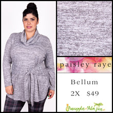 Load image into Gallery viewer, Paisley Raye Bellum Sweater, 2X, heathered Gray, shop this beautiful Paisley Raye Bellum sweater and more at pineapplesandpalmtrees.net or locally in the Twelve Bridges Community of Lincoln, California.