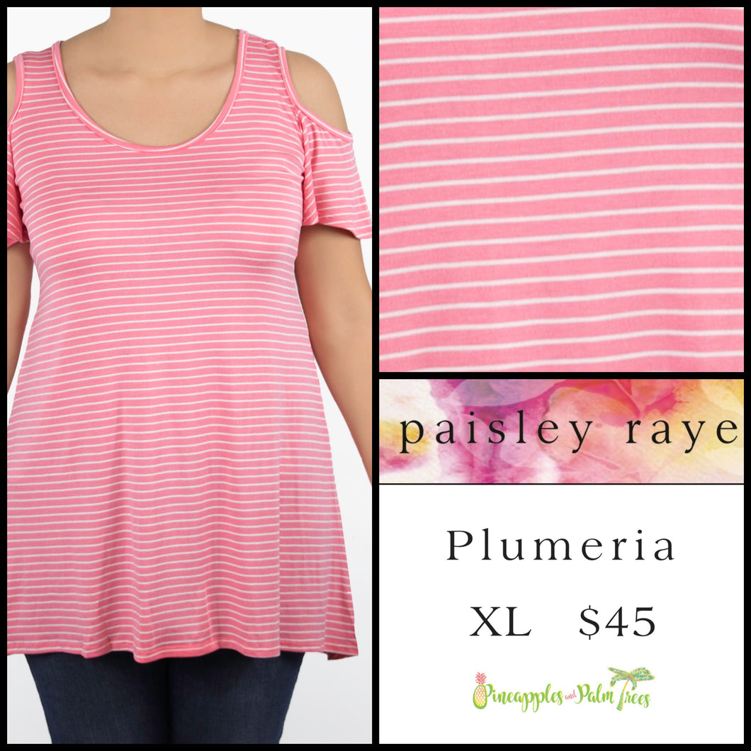 Paisley Raye Plumeria top, XL Pink/White stripes.  Shop this beautiful Paisley Raye Plumeria top and more at pineapplesandpalmtrees.net or locally in the Twelve Bridges Community of Lincoln, California.