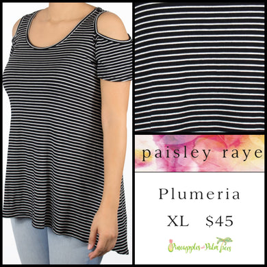 Paisley Raye Plumeria top, XL Black/White stripes.  Shop this beautiful Paisley Raye Plumeria top and more at pineapplesandpalmtrees.net or locally in the Twelve Bridges Community of Lincoln, California.