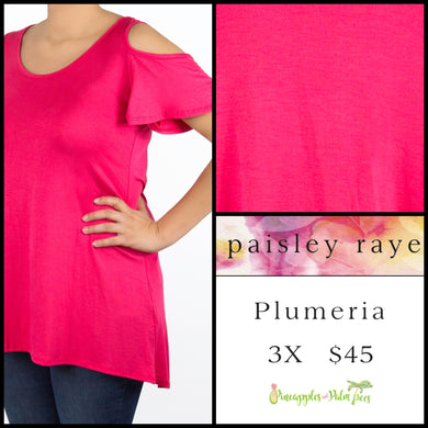 Paisley Raye Plumeria top, 3X solid punch.  Shop this beautiful Paisley Raye Plumeria top and more at pineapplesandpalmtrees.net or locally in the Twelve Bridges Community of Lincoln, California.