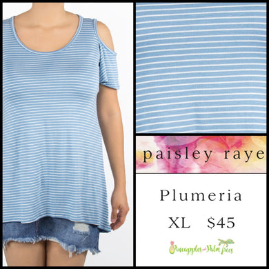Paisley Raye Plumeria top, XL light blue/white stripes. Shop this beautiful Paisley Raye Plumeria top and more at pineapplesandpalmtrees.net or locally in the Twelve Bridges Community of Lincoln, California.