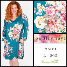 Load image into Gallery viewer, Paisley Raye Aster L green floral, shop the Paisley Raye Aster dress at pineapplesandpalmtrees.net or locally in Lincoln, California, in the Twelve Bridges Community.