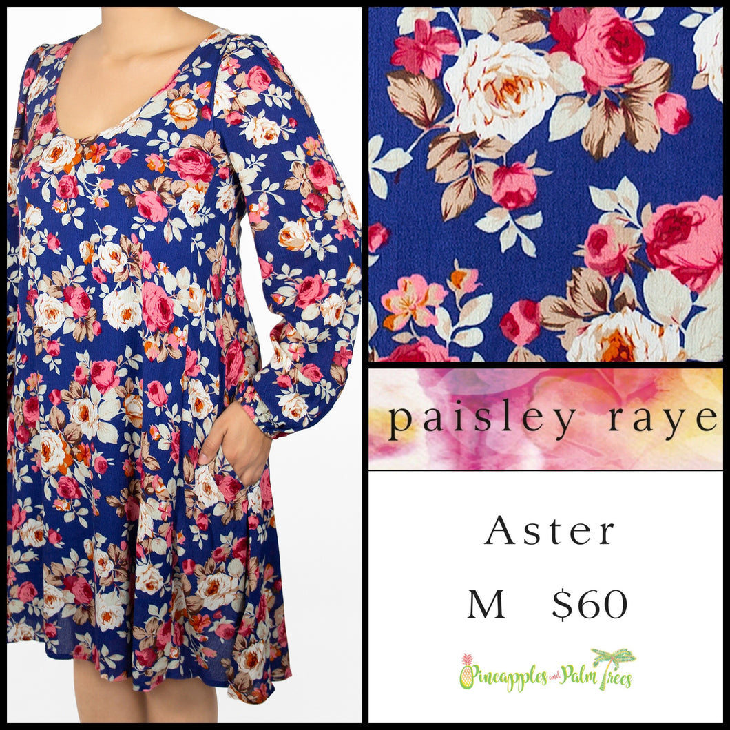 Paisley Raye Aster M Blue floral, shop the Paisley Raye Aster dress at pineapplesandpalmtrees.net or locally in Lincoln, California, in the Twelve Bridges Community.