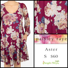 Load image into Gallery viewer, Paisley Raye Aster S Wine floral, shop the Paisley Raye Aster dress at pineapplesandpalmtrees.net or locally in Lincoln, California, in the Twelve Bridges Community.