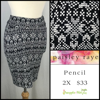 Paisley Raye 2X Pencil Skirt in a Black/White print, shop this Paisley Raye Pencil Skirt and more at pineapplesandpalmtrees.net or locally in the Twelve Bridges Community of Lincoln, California