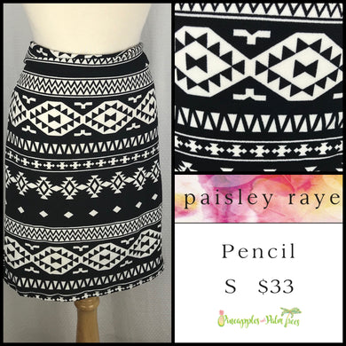 Paisley Raye S Pencil Skirt in a Black/White print, shop this Paisley Raye Pencil Skirt and more at pineapplesandpalmtrees.net or locally in the Twelve Bridges Community of Lincoln, California