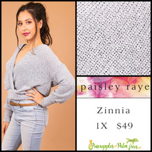 Load image into Gallery viewer, Sweater: Zinnia 1X - solid gray cross front sweater | Paisley Raye