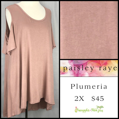 Paisley Raye Plumeria top, 2X solid blush. Shop this beautiful Paisley Raye Plumeria top and more at pineapplesandpalmtrees.net or locally in the Twelve Bridges Community of Lincoln, California.