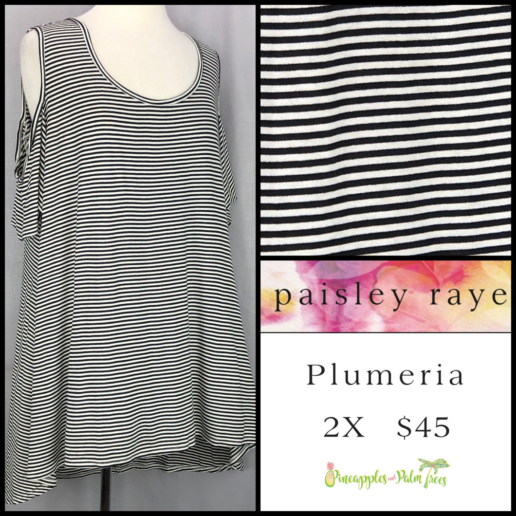 Paisley Raye Plumeria top, 2X, black/white stripes. Shop this beautiful Paisley Raye Plumeria top and more at pineapplesandpalmtrees.net or locally in the Twelve Bridges Community of Lincoln, California.
