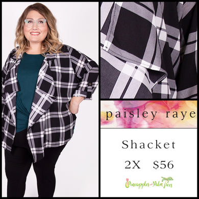 Paisley Raye shacked black/white plaid, 2X, shop this Paisley Raye Shacket and more at pineapplesandpalmtrees.net or locally in the Twelve Bridges Community of Lincoln, California.