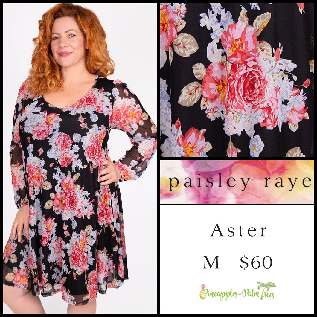 Paisley Raye Aster M Black Floral, shop the Paisley Raye Aster dress at pineapplesandpalmtrees.net or locally in Lincoln, California, in the Twelve Bridges Community.