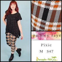 Load image into Gallery viewer, Paisley Raye Pixie pant in M black/orange plaid, shop this Paisley Raye Pixie Pant and more at pineapplesandpalmtrees.net or locally in the Twelve Bridges Community of Lincoln, California.