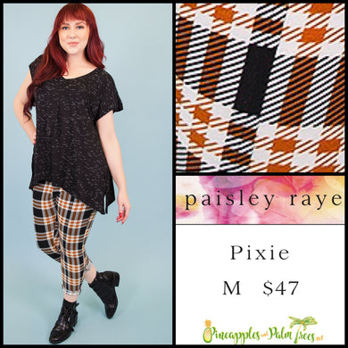 Paisley Raye Pixie pant in M black/orange plaid, shop this Paisley Raye Pixie Pant and more at pineapplesandpalmtrees.net or locally in the Twelve Bridges Community of Lincoln, California.