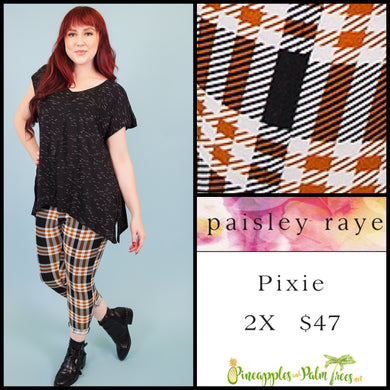 Paisley Raye Pixie pant in 2X orange/black plaid, shop this Paisley Raye Pixie Pant and more at pineapplesandpalmtrees.net or locally in the Twelve Bridges Community of Lincoln, California.
