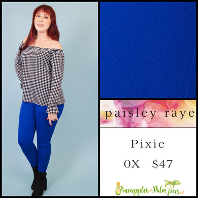 Paisley Raye Pixie pant in 0X solid blue, shop this Paisley Raye Pixie Pant and more at pineapplesandpalmtrees.net or locally in the Twelve Bridges Community of Lincoln, California.