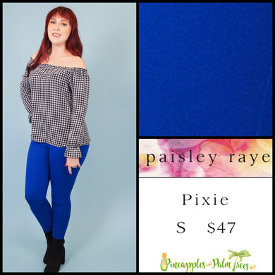 Paisley Raye Pixie pant in S solid blue, shop this Paisley Raye Pixie Pant and more at pineapplesandpalmtrees.net or locally in the Twelve Bridges Community of Lincoln, California.