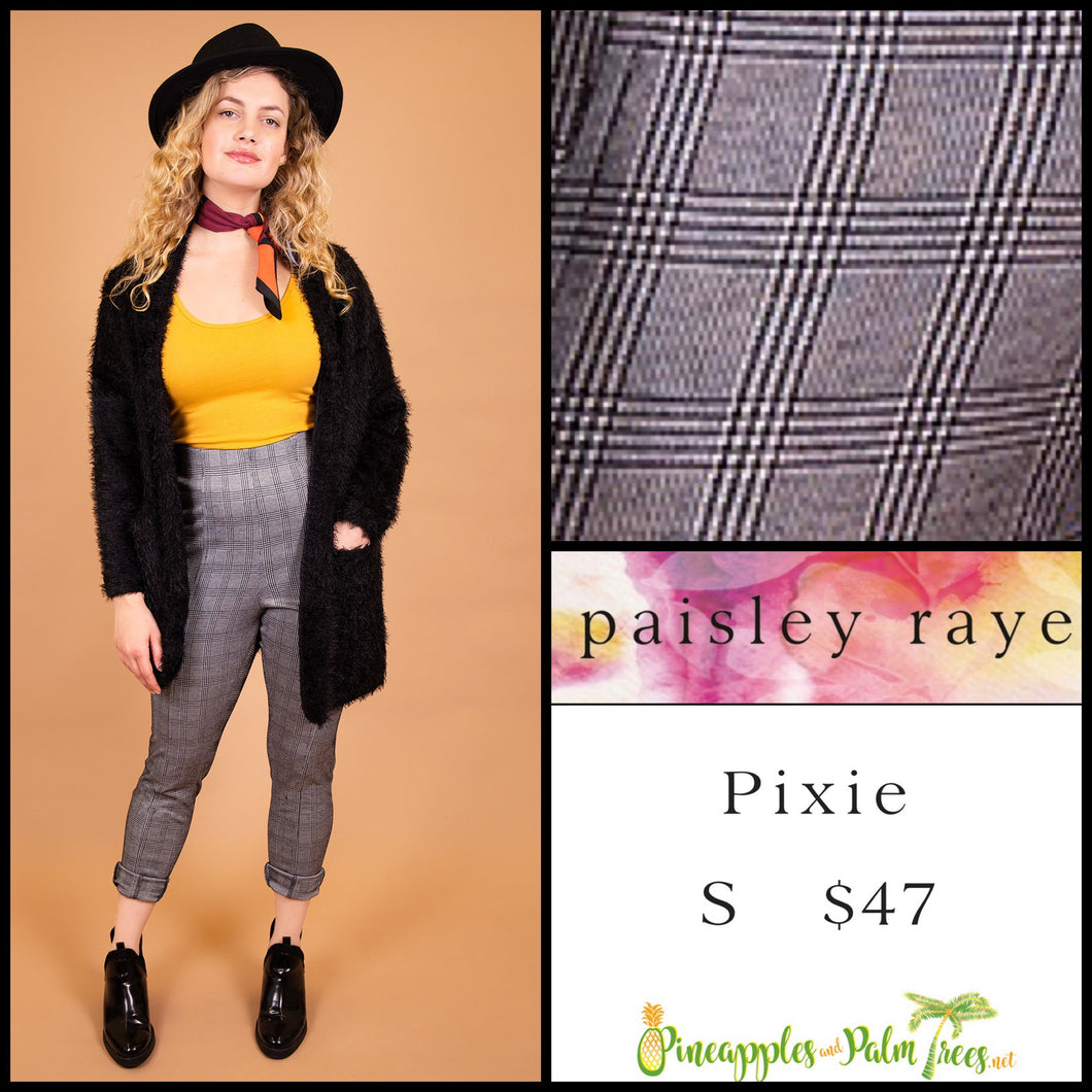 Paisley Raye Pixie pant in S black/white plaid, shop this Paisley Raye Pixie Pant and more at pineapplesandpalmtrees.net or locally in the Twelve Bridges Community of Lincoln, California.