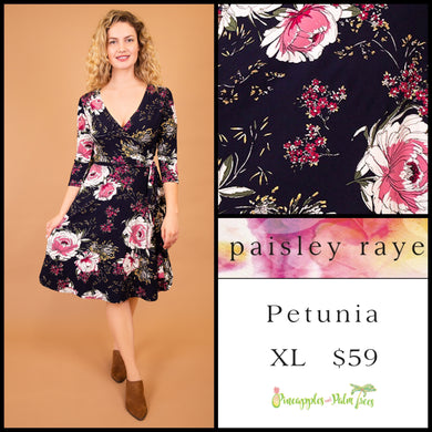 Paisley Raye Petunia Dress, XL navy floral, shop this Paisley Raye Petunia Dress and more at pineapplesandpalmtrees.net or locally in the Twelve Bridges Community of Lincoln, California.