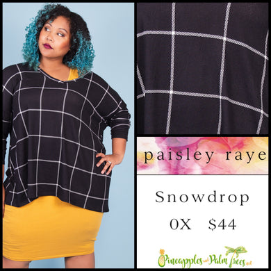Paisley Raye Snowdrop lightweight sweater, 0X black window pane, shop this Paisley Raye Jade top  and more at pineapplesandpalmtrees.net or locally in Lincoln, California, in the Twelve Bridges Community.