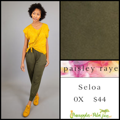 Paisley Raye Seloa Jogger, 0X solid Olive with pockets, shop this Paisley Raye Seloa Jogger and more at pineapplesandpalmtrees.net or locally in the Twelve Bridges Community of Lincoln, California.