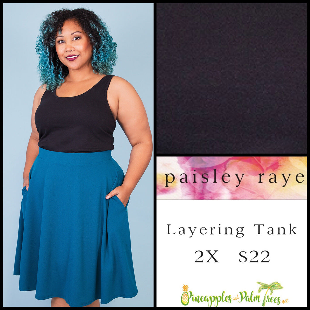 Paisley Raye layering tank solid black 2X, shop this Paisley Raye Layering Tank Top and more at pineapplesandpalmtrees.net or locally in the Twelve Bridges Community of Lincoln, California.