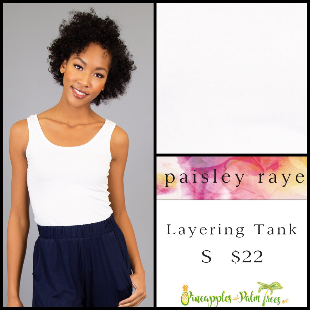 Paisley Raye layering tank solid cream S, shop this Paisley Raye Layering Tank Top and more at pineapplesandpalmtrees.net or locally in the Twelve Bridges Community of Lincoln, California.