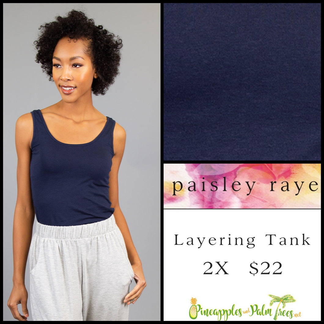 Paisley Raye layering tank solid navy 2X, shop this Paisley Raye Layering Tank Top and more at pineapplesandpalmtrees.net or locally in the Twelve Bridges Community of Lincoln, California.
