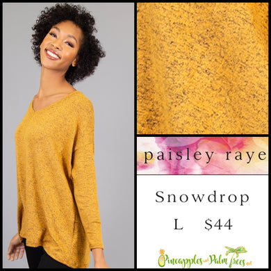 Paisley Raye Snowdrop lightweight sweater, L heathered mustard, shop this Paisley Raye Jade top  and more at pineapplesandpalmtrees.net or locally in Lincoln, California, in the Twelve Bridges Community.