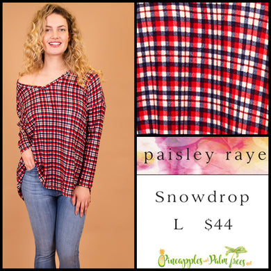 Paisley Raye Snowdrop lightweight sweater, L Red, white, blue plaid, shop this Paisley Raye Jade top  and more at pineapplesandpalmtrees.net or locally in Lincoln, California, in the Twelve Bridges Community.
