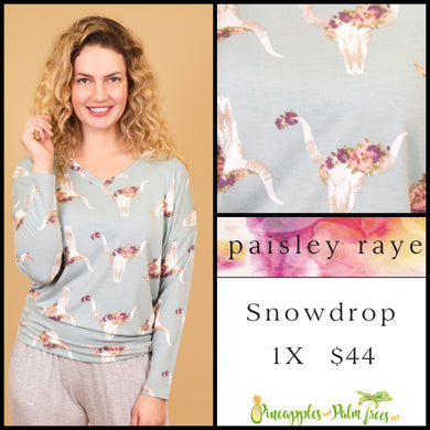 Paisley Raye Snowdrop lightweight sweater, 1X Light Blue floral steer skull, shop this Paisley Raye Jade top  and more at pineapplesandpalmtrees.net or locally in Lincoln, California, in the Twelve Bridges Community.