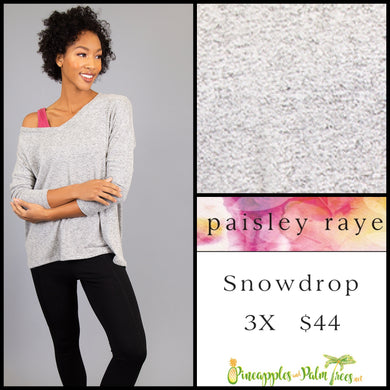Paisley Raye Snowdrop lightweight sweater, 3X Heathered Light Gray, shop this Paisley Raye Jade top  and more at pineapplesandpalmtrees.net or locally in Lincoln, California, in the Twelve Bridges Community.