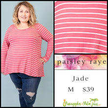 Load image into Gallery viewer, Paisley Raye Jade, long sleeve with thumb hole, M Pink/White stripes, shop this Paisley Raye Jade top  and more at pineapplesandpalmtrees.net or locally in Lincoln, California, in the Twelve Bridges Community.