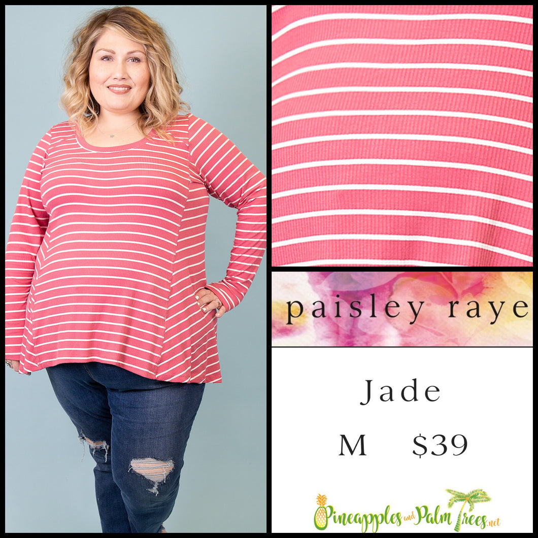 Paisley Raye Jade, long sleeve with thumb hole, M Pink/White stripes, shop this Paisley Raye Jade top  and more at pineapplesandpalmtrees.net or locally in Lincoln, California, in the Twelve Bridges Community.