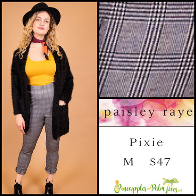 Paisley Raye Pixie pant in M black/white plaid, shop this Paisley Raye Pixie Pant and more at pineapplesandpalmtrees.net or locally in the Twelve Bridges Community of Lincoln, California.