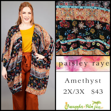 Amethyst, Paisley Raye, Outerwear, Kimono, 2X/3X, Black, Stripes, Floral, shop this Paisley Raye Amethyst Kimono and more at pineapplesandpalmtrees.net or locally in the Twelve Bridges Community.Lincoln, California.