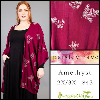 Paisley Raye Amethyst Kimono, 2X/3X embroidered Burgundy, shop this Paisley Raye Amethyst Kimono and more at pineapplesandpalmtrees.net or locally in the Twelve Bridges Community of Lincoln, California.