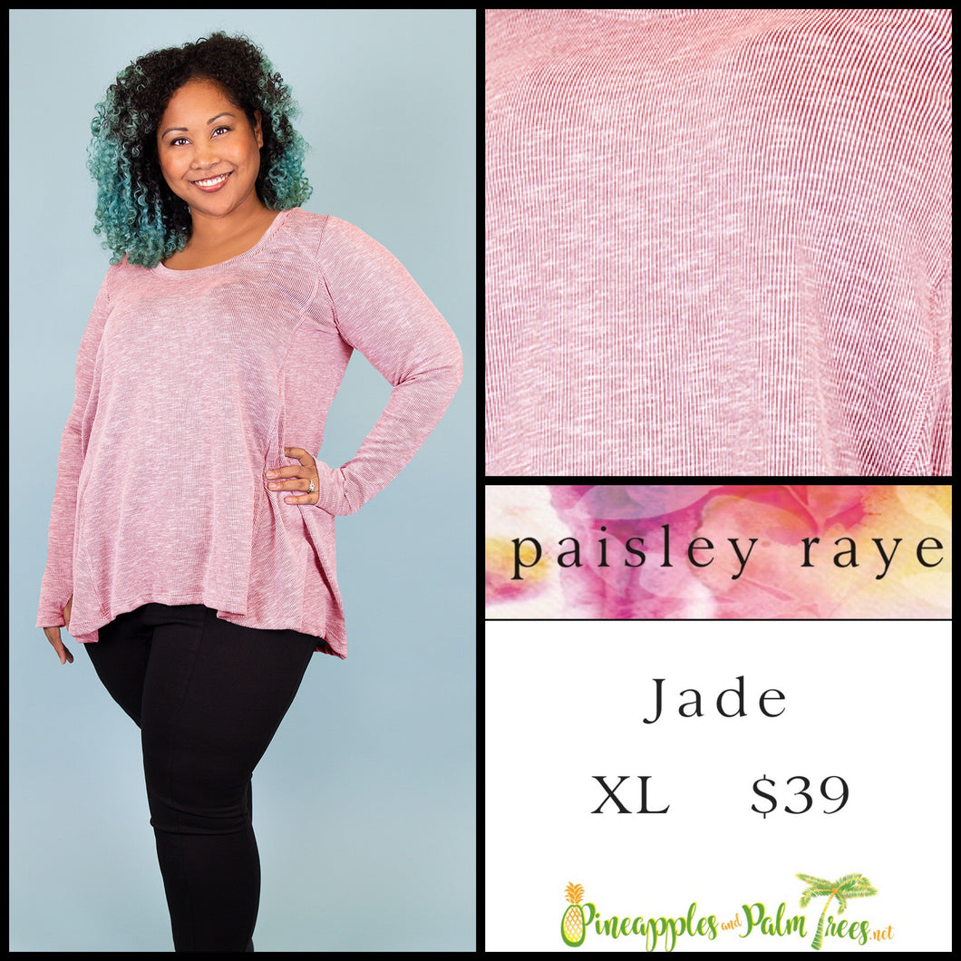 Paisley Raye Jade, long sleeve with thumb hole, XL Heathered Pink, shop this Paisley Raye Jade top  and more at pineapplesandpalmtrees.net or locally in Lincoln, California, in the Twelve Bridges Community.