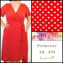 Load image into Gallery viewer, Paisley Raye Primrose 2X Red White Polka Dot, shop this Paisley Raye Primrose Dress and more at pineapplesandpalmtrees.net or locally in the Twelve Bridges Community of Lincoln, California.