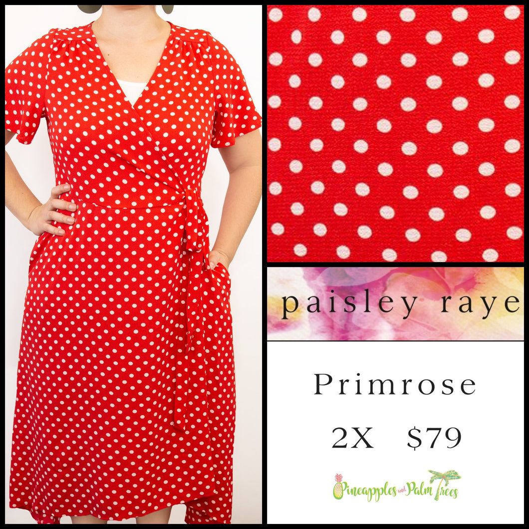 Paisley Raye Primrose 2X Red White Polka Dot, shop this Paisley Raye Primrose Dress and more at pineapplesandpalmtrees.net or locally in the Twelve Bridges Community of Lincoln, California.